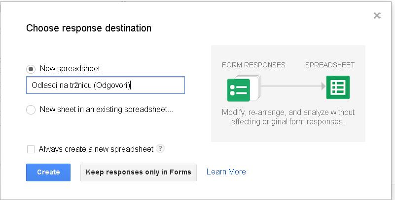 Slika 115 - Prozor Choose response destination