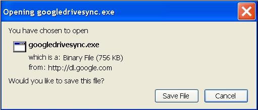 Slika 12 - Prozor Opening googledrivesync.exe