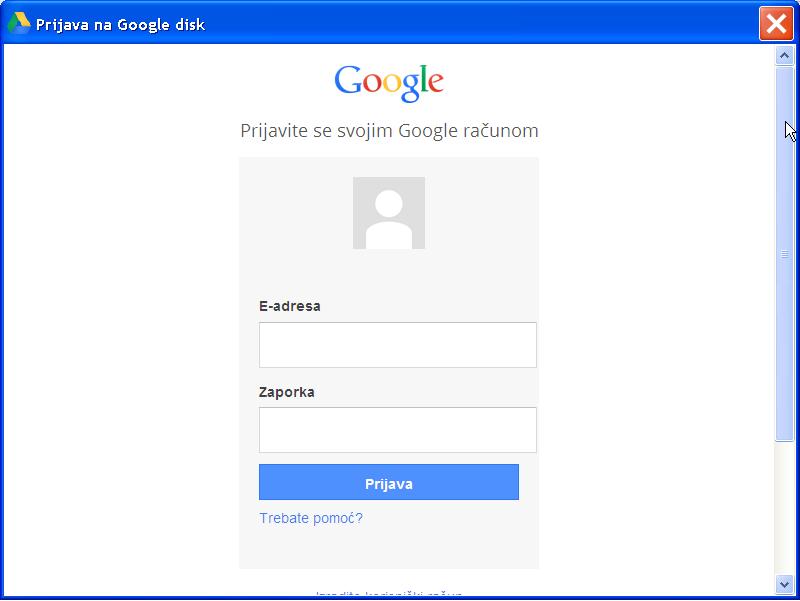 Slika 14 - Prozor Prijava na Google disk