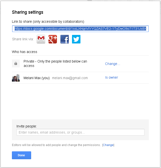 Slika 34 - Sharing settings