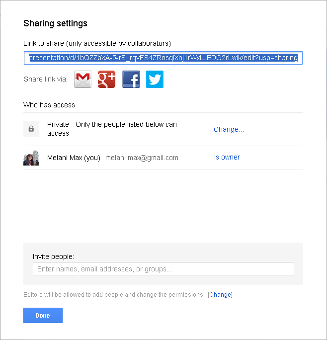 Slika 61 - Sharing settings