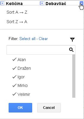 Slika 78 - Padajući izbornik Filter
